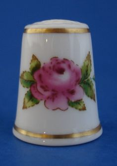 Royal Worcester Porcelain Thimble Pink Rose Gold Band