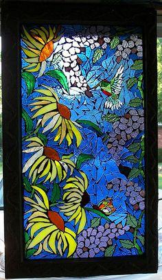Hummingbird Window Lit From Behind
