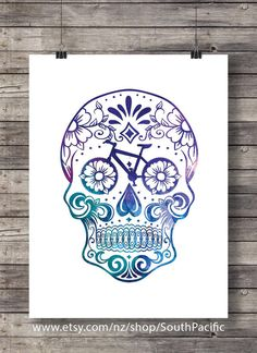 Watercolor Sugar Skull - Bike parts - bicycle sugar skull -Printable wall art… Cycling Tattoo, Bicycle Tattoo, Bike Tattoos, Bicycle Art, Cycling Art, Cycling Quotes, Cycling Jerseys, Bicycle Design, Sugar Skull Tattoos