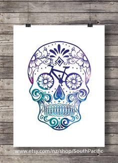 Aquarelle Sugar Skull - pièces vélo - vélo sucre crâne - sticker imprimable - Télécharger Instant impression numérique