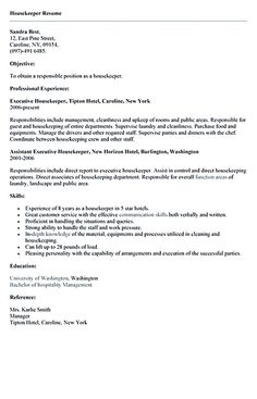 Professional Resume Cover Letter Sample The sample housekeeper