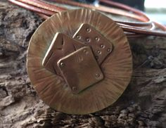 #9 - Bronze - layered - textured - riveted -pendant