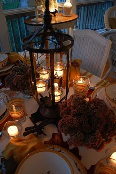 Another Autumn tablescape with a beautiful tealight lantern.