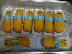 Twinkie Babies! Twinkies, icing, small plastic pacifiers.  Great for baby showers :-)