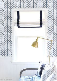 Gorgeous custom Roman shades with navy ribbon trim for the same price as non-custom shades at a big box store! Source linked in post! Best White Paint, White Paint Colors, Feather Wallpaper, Room Wallpaper, Serena And Lily Wallpaper, Playroom Design, Kid Playroom, Driven By Decor, Princess Room