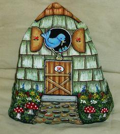 Hand Painted Rock by LP Blue Bird Gnome Bird House Painting Art Stone Decor | eBay