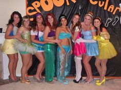 Homemade Disney Princess Costumes.  Snow White, Tinker-bell, Esmerelda, Little Mermaid, Jasmine, Sleeping Beauty, Cinderella, Belle.