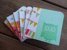 Mint Green Owl Mini Cards by Lemon Drops & Lilacs on etsy.com