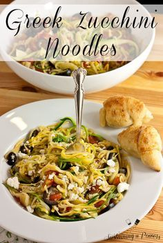 A quick, healthy dinner recipe. Greek Zucchini Noodles with Feta, Olives, Artichokes and Tomatoes.