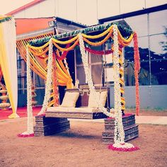 Floral swing decor for a south indian wedding by 3 Production Weddings Bangalore www.3productionweddings.com