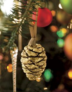 Gold Pinecone Ornament