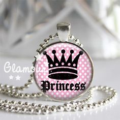 Princess Crown Pink Polka Dot Tiara Silver Glass Tile Pendant Necklace | c0nfus3dgurl - Jewelry on ArtFire