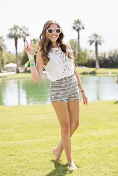 crop top outfits | ... with a white crop top at the Lacoste Live Pool Party. How cute is she