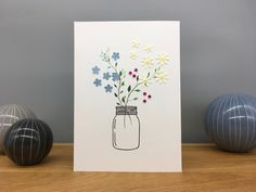 Handmade Blank Greeting Card ~ Vase of Flowers ~ Blank Greeting Card by StickandPasteCards on Etsy Flower Vases, Flowers, Ink Stamps, Blank Cards, Me On A Map, Paper Cutting, I Card, Mason Jars, Greeting Cards