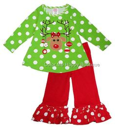 FUN lime and red REINDEER applique top with sassy red pants with polka-dotted ruffles by boutique brand Peaches n Cream! (available in sz.2T-6x) #Christmas #holidays