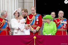 Prince Charles, Catherine,  Princess Charlotte, Prince Harry, Prince William,  Prince George,  Elizabeth II,  Prince Edward, Prince Philip  Trooping The Colour Parade in London