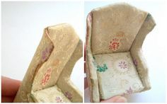 Vintage miniature wing back chair is from the Petite Princess line by Ideal, originally made in the 1960s. Beige with embroidered flowers and