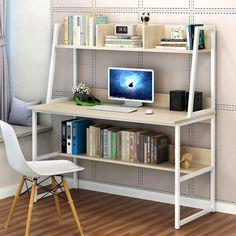 Computer Desk Simple Modern Home Desk, Simple Bookshelf Desk Combination Maple Cherry Wood Color Large Computer Desk, Office Computer Desk, Pc Desk, Home Office Desks, Home Office Furniture, Study Office, Study Desk, Office Table, Tablet Computer