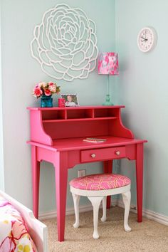 Pink desk secretary  white and pink stool makeovers  Mid Mod Inspirations   Little  Girls Vanity DiyLittle  Girls desk painted and distressed with a stencil top  painted  . Diy Vanity For Little Girl. Home Design Ideas