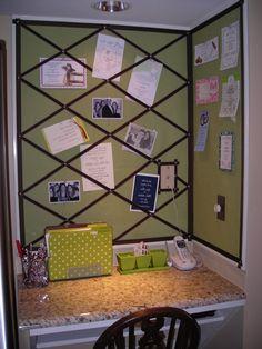 corner memo/ inspiration board idea via www.foxandriddle.com/category/clever-crafts/