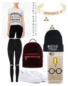 """""""Recently Became a Potterhead"""" by victoria1221 ❤ liked on Polyvore featuring Bioworld, Topshop, adidas, even&odd, Casetify and Warner Bros."""