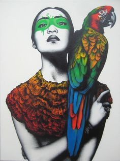 Alabaster,Single layer stencil with freehand spitting, acrylic, Molotov spray paint and hand finishing on 60 x 80 linen canvas by Fin DAC