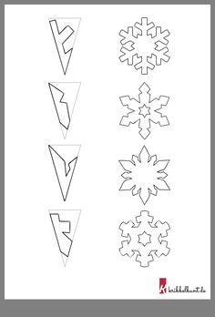 Diy Snowflakes, Christmas Snowflakes, Christmas Art, Christmas Ornaments, Printable Templates, Snowflake Template, Paper Snowflake Patterns, Origami Tree, Super Easy