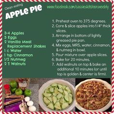 Clean Eating Apple Pie - made with AdvoCare's Vanilla Meal Replacement Shake. Protein packed!