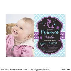 Shop Mermaid Birthday Invitation Under the Sea Party created by Happyappleshop. Kids Birthday Themes, Girl 2nd Birthday, Mermaid Birthday, Birthday Parties, Summer Birthday, Dinosaur Birthday, Happy Birthday, Mermaid Invitations, Invites