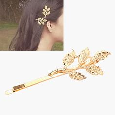 Airmail Gold Color Leaf Shape Simple Design Alloy Hair clip hair claw http://earrings.asumall.com/