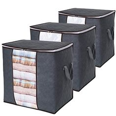 Basics Foldable Large Zippered Storage Bag Organizer Cubes with Clear Window /& Handles 3-Pack