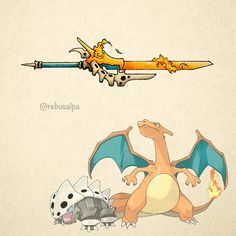 Pokeapon Fusion - Charizard & Lairon. Requested by @xalina.hope.