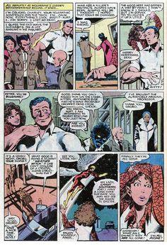 Mariko Yashida, Logan, Pete Rasputin, Professor Charles Xavier, Kitty Pryde, Kurt Wagner, Ororo Munroe, and Warren Worthington III. (Uncanny X-Men Vol.1 #143)