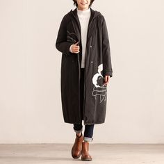 Women Autumn Winter Hooded Zip-Front Long Sleeve Long Black Coat