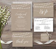Kraft Wedding Invitation Template, Rustic String Lights Modern Invite Set, RSVP, Info Card, DIY, Instant Download, Editable PDF File #014C