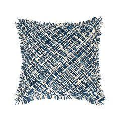 Throw your décor for a loop with this textured cotton decorative pillow. Featuring a ropelike, crisscross weave and fringe in mingled shades of indigo, sky, and white, this pillow provides a punch of personality in both modern and traditional rooms. • 100% cotton. • Zipper closure.