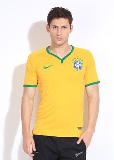 Buy Nike Brazil Home FIFA Jersey Solid Men's V-neck T-Shirt Online at Best Offer Prices @ Rs. 3,595/- In India. Only Genuine Products. 30 Day Replacement Guarantee. Free Delivery. Cash On Delivery!