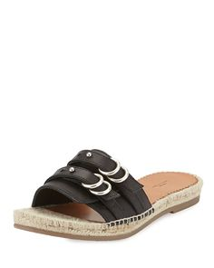 Rag and Bone Women's Jules Espadrille Slide Leather Sandal, Black *** Details can be found by clicking on the image.