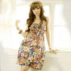 $5.93 Refresh High Waist Floral Print Flounce Strap Sleeveless Dress For Women...a site w/ cheap dresses