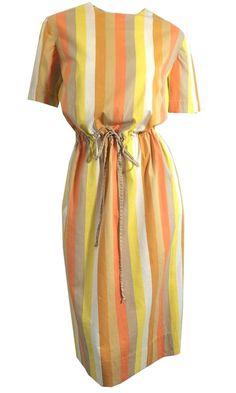 Citrus Colored Awning Striped Cotton Handbag circa 1960s