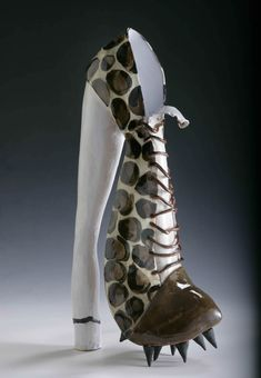 Ceramics, Linda Bristow, Artist, Tall Studded Shoe, base 24cm x 46cm - Find 150+ Top Online Shoe Stores via http://AmericasMall.com/categories/shoes.html
