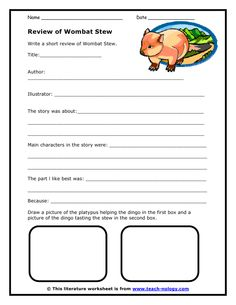 Book review worksheet - great for teaching children how to write a book review. Wombat Stew, Writing A Book Review, Big Books, Writing Worksheets, Australian Curriculum, Australian Animals, English Lessons, Literacy Activities, Picture Books