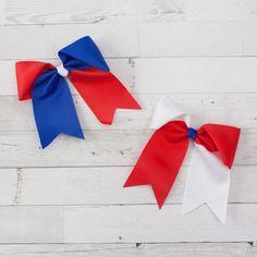 """6"""" Grosgrain Red, White & Blue Long Tail Hair Bow Clip"""