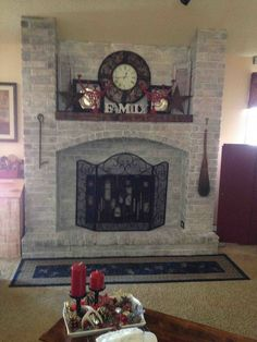 Hometalk :: My whitewashed fireplace