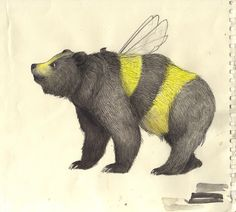from Bumble Bear & Grizzly Bee - an awesome book - by Sandra Dieckmann. Illustrations, Illustration Art, Sandra Dieckmann, Bear Sketch, I Love Bees, Honey Bear, Bee Art, Bees Knees, Collages