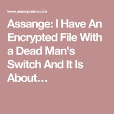 Assange: I Have An Encrypted File With a Dead Man's Switch And It Is About…