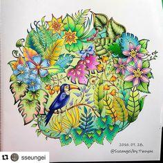 Livro: Selva Mágica Pintado por: @sseungei #topcoloridos #pinturas #colorir…