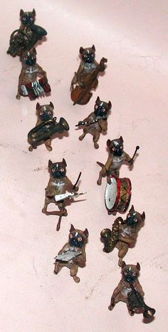 Authentic Old Vienna Bronze TEN PIECE Orchestra of French Bulldogs