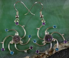 Nebula Earrings with Amethyst Druzy by AngelwearCreations on Etsy