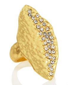 Y0REE Panacea Pave Hammered Leaf Ring